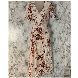 ROXY Floral Print Wrap Dress Maxi Asymmetrical Hem